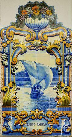 stock photo : tiles (azulejos) at railway station of Pinhao, Douro Valley, Portugal Tile Murals, Tile Art, Mosaic Art, Portuguese Culture, Portuguese Tiles, Visit Portugal, Portugal Travel, Tuile, Algarve