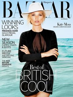 Kate Moss covers the August 2012 issue of Harper's Bazaar Australia. Shot by Terry Richardson.
