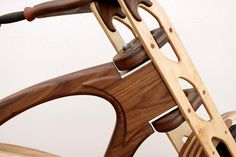 Wooden defender bike, finished with Penofin Verde. Manufactured by Masterworks Wood Cycles.