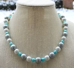White Gray and Turquoise Pearl Necklace Wedding by RadiantByRetha
