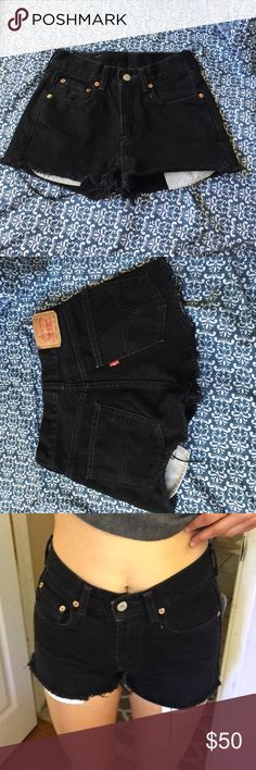 Levis Black High Waisted Denim Shorts! Really cute and basic! Frayed hem! Great condition! Says waist 25 but they fit more like a 24 or 00 Brandy Melville Shorts Jean Shorts