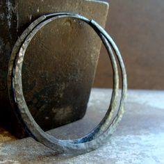 sterling silver hoops Large hammered hoop earrings  by 2TrickPony