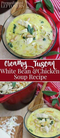 Creamy Tuscan White Bean and Chicken Soup Recipe - Prepare this creamy soup for a hearty meal with a Tuscan flair. It's a quick and easy take on an old favorite. It is naturally gluten-free, can be made ahead and freezes well.