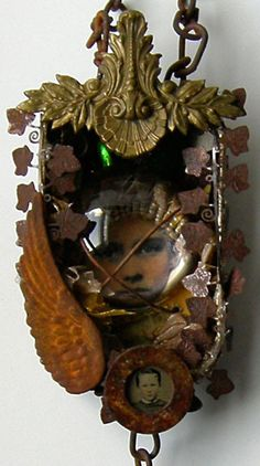 44 Mixed Media Assemblage Altered Art Tin  could try sometime collect small bits of metal STUFF