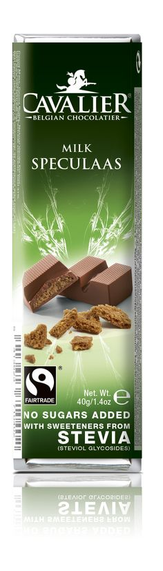 Bar with sweeteners from Stevia, milk chocolate with speculaas flavoured filling. Cavalier the pioneer in no sugars added chocolate.