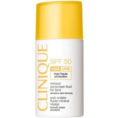 Clinique Mineral Sunscreen Fluid For Face SPF50 30ml (378.035 IDR) ❤ liked on Polyvore featuring beauty products, bath & body products, sun care, beauty and clinique