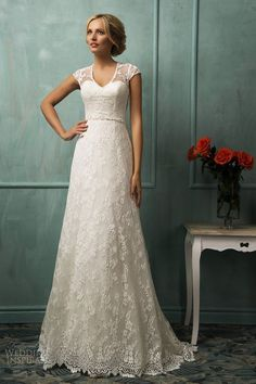 2014 Graceful New Cap Sleeve White/Ivory Lace Wedding Dress Custom All Size