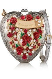 Dolce and Gabbana Heart embellished silver-plated shoulder bag