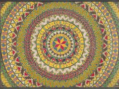 Indian Summer mandala ~ artist Jewelfly, hand drawn with PrismaColor markers & Sharpie markers  #pattern #mandala #art