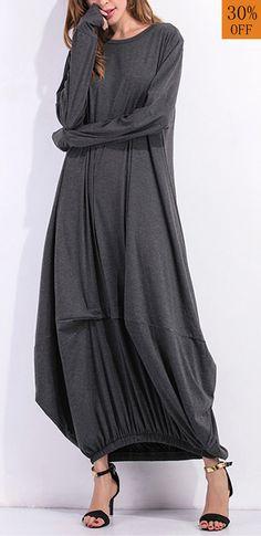 Leisure Ladies Solid Kaftan Round Neck Long Sleeves Dresses. #women #dress