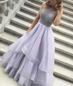 Beading Tiers Ball Gown Organza Prom Dresses 2017,