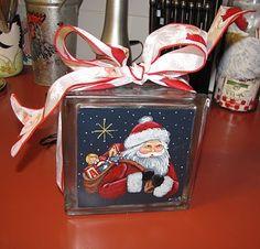 block craft, paint idea, christmas decorations, paint glass, christma decor, block christma, christma glass, glass box, glass block