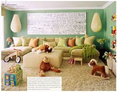 Love this Family Room/Playroom! This is what I want to do with her next home! have a comfy, sweet family room/playroom, where the kids can play and mommy and daddy can chill and watch them! U Couch, Couch Ottoman, Cozy Couch, Couch Pillows, Lounge Couch, Cushions, Jeff Andrews Design, Family Room Playroom, Room Kids