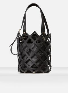 Perforated bucket bag in black leather with insert. Square cut out features on a bucket bag. Black Handbags, Leather Handbags, Leather Purses, Leather Bags, My Bags, Purses And Bags, Black Designer Bags, Beautiful Bags, Shoulder Handbags