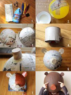Goldilocks & The Three Bears Costume family+halloween+costume+ideas+goldy+locks+and+the+three+bares Paper Mache Head, Paper Mache Mask, Fun Crafts, Diy And Crafts, Paper Crafts, Diy Projects To Try, Art Projects, Diy For Kids, Crafts For Kids