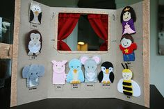 The Wight Family: Finger Puppet StageBackside of a sweet little finger puppet stage.I made these felt finger puppets quite a while ago. We had a stake activity where they wanted to make these for children in the hospital so. Use a display boardBest 9 Felt Puppets, Felt Finger Puppets, Hand Puppets, Diy For Kids, Crafts For Kids, Diy Pour Enfants, Puppet Show, Puppet Making, Imaginative Play
