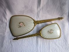 hand held mirrors vintage   Items similar to Vintage 1950s Hand Held Mirror and Brush Set Dressing ...