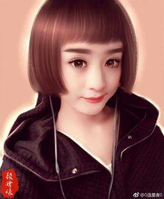 Zhaoliying fanmade.. Cute Wallpapers, Art Girl, Pretty Girls, Fanart, Actresses, Portrait, Painting, Cartoon, Beautiful
