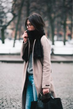#beauty #style #fashion #woman #clothes #outfit #wearable #winter #fall #autumn #black #scarf #brown #long #coat #gray #sweater #jeans