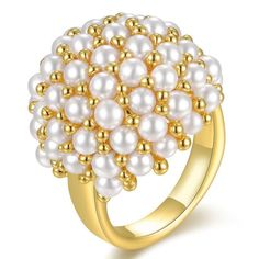 18K Yellow Gold Gp Pearls Statement Cocktail Ring Women Fashion Jewelry R1161