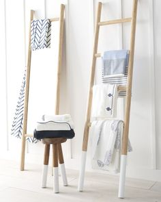 Made of water-resistant teak wood, this dip dyed ladder is perfect for the bathroom. Use it to showcase your beautiful towels or give height to a room. Window Treatments Living Room, Living Room Windows, Coastal Living, Coastal Decor, Coastal Rugs, Coastal Bedding, Modern Coastal, Coastal Farmhouse, Coastal Style