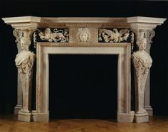 These magnificent chimneypieces can be confidently attributed to William Kent on the basis of sketches made by the architect William Chambers of a chimneypiece at Wanstead House, Essex. Fireplace Surrounds, Fireplace Design, Fireplace Mantles, Cozy Fireplace, Mantle Piece, Green Marble, Architecture Details, Rustic Decor, Decoration