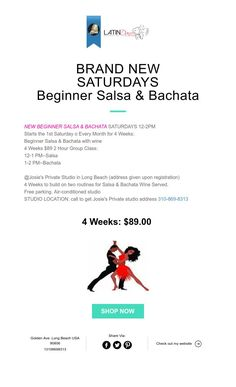 BRAND NEW SATURDAYS Beginner Salsa & Bachata