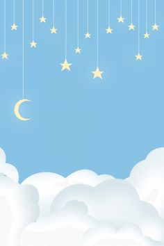 Simple Wallpapers, Blue Wallpapers, Blue Clouds, White Clouds, Star Background, Background Images, Baby Wallpaper, Iphone Wallpaper, Stars And Moon