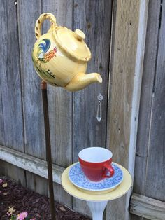 Teapot and Teacup Garden Decor Rooster by FancysGarden on Etsy