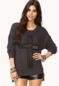 cross sweatshirt.  Forever 21 i love the detail of this size m