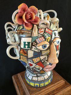 Mosaic teacup head by Lora