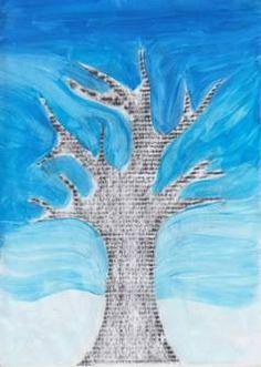 Zimní strom – frotáž