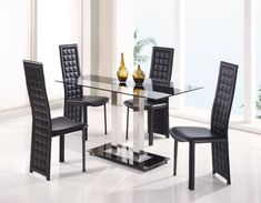 Global Furniture USA Jord Glass Dining Table in Black Stripe - - Lowest price online on all Global Furniture USA Jord Glass Dining Table in Black Stripe - Glass Dining Table Set, 5 Piece Dining Set, Dining Table Design, Dining Table In Kitchen, Dining Room Sets, Dining Area, Kitchen Decor, Kitchen Design, Glass Furniture