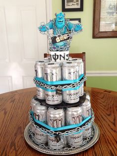 A cake we made for David's boss he loves monster energy drinks. We had fun making it! :)