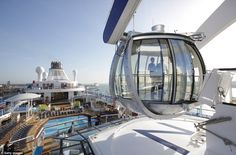 With a jewel-shaped pod that lifts passengers over the ocean and robots that serve cocktails, the world's third largest cruise ship is set to sail across the Atlantic Ocean on its inaugural voyage.