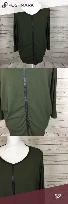 """Two by Vince Camuto Dolman Faux Leather Trim Top In great condition. Size Large. Has faux leather trim, dolman sleeve style, very stretchy. All measurements are approximate  Back hem to bottom hem: 25.5"""" Pit to pit: 26"""" Inseam of Sleeves: 12.4""""  Body; 57% cotton 38% modal 5% spandex Sleeves; 60% cotton 40% rayon  A162 Two by Vince Camuto Tops Blouses"""