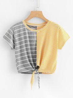Purchase Womens Fashion Short Sleeve O-Neck Stripe Tee Bow Bandage Blouse Tops T-Shirt from Shenzhen Wanweile Network Tech on OpenSky. Blusas Crop Top, Crop Top Shirts, Shirts & Tops, Crop Tops, Tank Tops, Amazon Mode, Tied T Shirt, Short Women Fashion, Womens Fashion