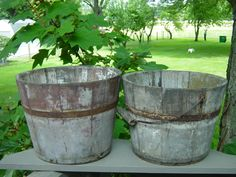 Two Early Primitive Painted Wooden Buckets AAFA | eBay