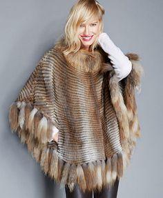 c1db68b425c The Fur Vault Muskrat   Red Fox Fur Poncho Women - The Fur Vault - Macy s