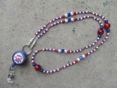 Atlanta Braves Beaded Lanyard ID Badge by TheLanyardNecklace, $27.00