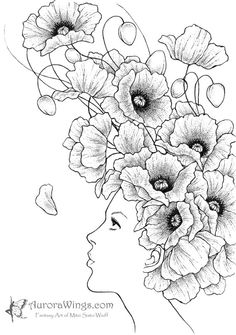 Black & White Print – Girl with Poppy Flowers – Poppies- Signed Fantasy Art … Black & White Print – Mädchen mit Mohn Blumen – Mohn – 5 x 7 signiert Fantasy Kunstdruck – von Mitzi Sato-Wiuff Fantasy Kunst, Fantasy Art, Poppy Drawing, Poppies Tattoo, Coloring Book Pages, Digi Stamps, Doodle Art, Line Art, Art Drawings