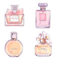 Watercolour perfume bottle painting