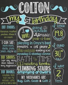 Mustache First Birthday Chalkboard Poster by PersonalizedChalk, $34.00