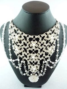 Tying the Chainmaille Knot with Flowers - White Wedding Swarovski Crystal & Chainmaille Bib Necklace