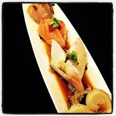 Aburi Sashimi Sampler 炙り刺身4種盛り  #alphasushibar #aburi #sashimi #tuna #salmon #scallop #toro #hamachi #yellowtail #vancouver #japanese #sushi #restaurant by alphasushibar