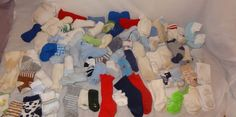 Huge Lot 78 Pairs Socks Size Baby Newborn - Age 3 Toddler Boy's Used - Stained  #Unbranded #Socks