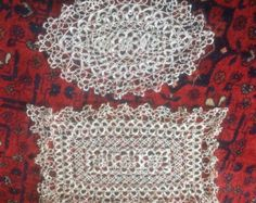 A Set of Two Beautiful, Vintage, Ecru, Handmade, Cotton, Tatting Lace Doilies for a Dressing Table. by fleursenfrance. Explore more products on http://fleursenfrance.etsy.com
