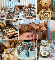 teddy bear baby boy shower themes | Teddy Bear baby shower--love the macaron pop bears!