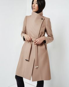 Long wool wrap coat - Taupe | Jackets & Coats | Ted Baker