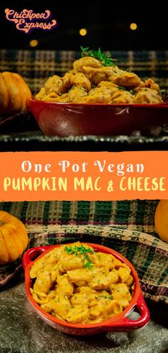 vegan mac and cheese with a fall twist, pumpkin! This one pot pasta is quick and easy, healthy and makes the perfect vegan dinner. Vegan Cheese Recipes, Vegan Dinner Recipes, Vegan Dinners, Fall Recipes, Vegan Sauces, Meatless Recipes, Vegan Foods, Dairy Free Mac And Cheese, Vegan Mac And Cheese